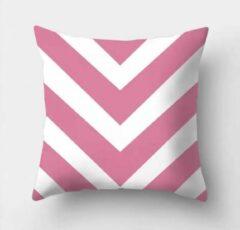 Sierkussenhoes Kussenhoes Pink-White - Roze-Wit - Sierkussen - 45x45 cm