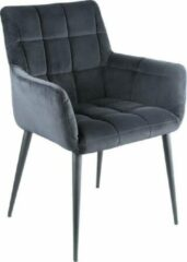 Vtw Living Sfeervolle luxe stoel - Stoel - Woonkamer - Comfort - Comfortabel - Industrieel - Luxe - Design - Comfortabele stoel - Fluweel - Zwart