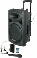 Zwarte Ibiza Audio Draagbaar geluidssysteem 800W - USB/Bluetooth/micro's - ingebouwde accu (PORT15UHF)
