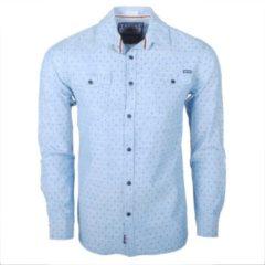 Earthbound - Heren Overhemd met 2 Borstzakjes - Lichtblauw met blauw stip