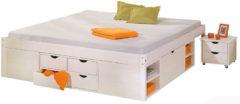 Kiefer Massivholz Funktionsbett mit Schubladen und Nachttisch Gr. 160 x 200