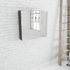 Zaro Beam antraciet spiegelkast 80x70x16cm 2 deuren