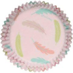 Roze FunCakes Cupcake Vormpjes Muffin Vormpjes Papier Pastel Feathers pk/48