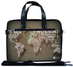 Grijze False Laptoptas 15,6 / schoudertas wereldkaart & namen - Sleevy - reistas - schoudertas - schooltas - heren dames tas - tas laptop