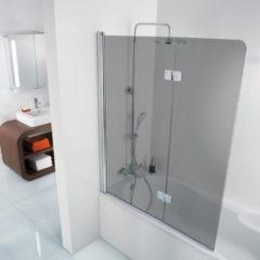 Ben Martino Soft 2-delige Badklapwand 114x140cm Chroom / Grijs Glas