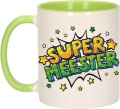 Bellatio Decorations Super Meester Cadeau Koffiemok / Theebeker Wit En Groen Met Sterren - 300 Ml - Keramiek - Cadeau / Bedankje Meester