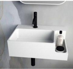 Ideavit SolidDual Wastafel 50x36x15,5cm 1 kraangat 1 wasbak Solid Surface wit mat 290274-H
