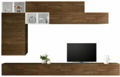 Pesaro Mobilia TV-wandmeubel set Sako in hoogglans wit met walnoot