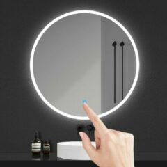 Aica Sanitair LED ronde badkamerspiegel diameter 60cm , randloze smalle rondom licht baan wandspiegel,enkele touch sensor schakelaar, koud wit