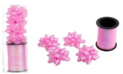 Merkloos / Sans marque Cadeaulint roze 10 meter - 4 roze strikjes