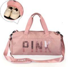 Merkloos / Sans marque Pink Duffel Bag | Medium Dames Sport Tas | 25 Liter - Roze | Gymtas