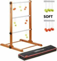 New Prof. Laddergolf Spinladder set van Ubergames. SOFT ballen: Fluor Geel, Oranje Laddergolf set