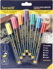 Securit 7x Gekleurde vloeibare krijtstiften ronde punt 1-2 mm - Krijtstiften/hobby artikelen/kantoor benodigheden