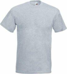 Fruit of the Loom Set van 2x stuks grote maten basic licht grijs t-shirts voor heren - voordelige katoenen shirts - Herenkleding, maat: 4XL (48/60)