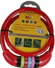 Merkloos / Sans marque Kabelslot met cijferslot rood 10 x 650 mm