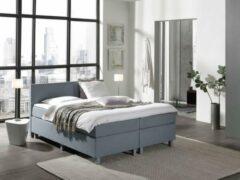 Antraciet-grijze Complete Boxspring 160x200 cm - Lichtblauw - Pocketvering matrassen - Dreamhouse Louis - Twee persoons - Extra hoge onderbox - 30 cm onderbox (67cm lighoogte)