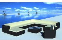 Zwarte Vidaxl loungeset voor buiten poly rattan zwart 35-delig
