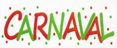 't Zinkhuysje Muur of raamsticker Carnaval - rood/groen - 40x15 cm.