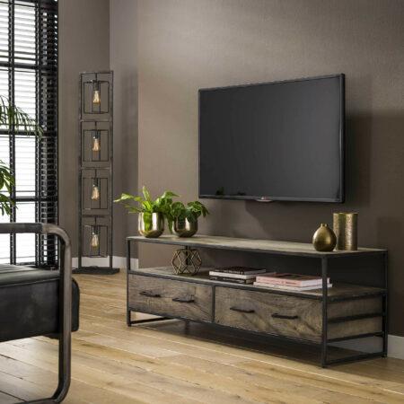 Afbeelding van Grijze LifestyleFurn TV-meubel 'Lorraine' Acaciahout, 135cm