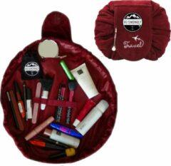 Bordeauxrode Reismonkey Velvet Toilettas/Make-up Tasje – Voor Op Reis/Vakantie/Kamperen – Travel Bag Organizer voor Dames/Meisje/Kinderen – Make-up Organizer/Cosmetic Bag – Reisartikelen – Bordeaux Rood