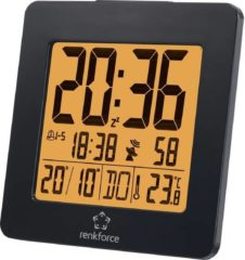 Renkforce 1383425 Wekker Zendergestuurd Zwart Alarmtijden: 2