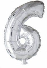 Globos nordic Folie Ballon Cijfer 6 Zilver 41cm met rietje