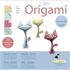 Fridolin Funny Origami: KAT 15x15cm, 20 bladen met 4 verschillende tekeningen, 8+