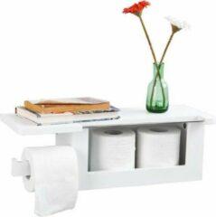 Witte Simpletrade Toiletpapier houder - Wc rolhouder - 1 opbergvak - Handdoekhouder - 50x18x17 cm