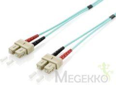 Groene Equip SC/SC 50/125μm 1.0m 1m SC SC OM3 Turkoois Glasvezel kabel