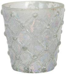 Clayre & Eef Glazen Theelichthouder 6GL2958 Ø 8*7 cm Wit Glas Rond Waxinelichthouder Windlichthouder