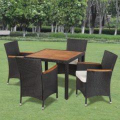 Zwarte Vidaxl poly rattan tuinstoelenset met 4 stoelen en een tafel