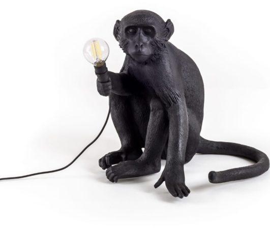 Afbeelding van Zwarte Seletti Monkey Buitenlamp Resin Zwart 34 x 32 cm - Zittend