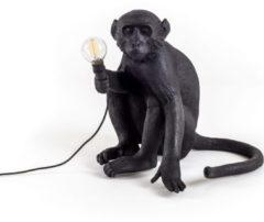 Zwarte Seletti Monkey Buitenlamp Resin Zwart 34 x 32 cm - Zittend