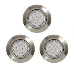 EGLO Peneto - Inbouwspotje - LED - Ø87mm. - Nikkel-Mat - Set 3 Spots - Richtbaar