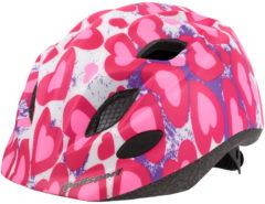 Roze Polisport Glitter Hearts- Kinderfietshelm+houder+bidon - Maat S/52-56 cm - Wit/Geel