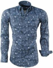 Antraciet-grijze Ferlucci heren overhemd met trendy design bloemen calabria