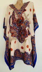 Merkloos / Sans marque Dames kaftan/tuniek met bloemenprint one size 36-48 beige/blauw/oranje