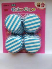 Het Borstelhuis vof Cupcake Vormpjes Papier - Muffin Vormpjes - 100 stuks - Diameter 5 cm - wit-blauw gestreept