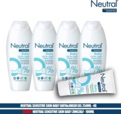 Neutral 0% Sensitive Skin Baby Bath&Wash Gel 250ml - 4 Pack + Baby Zinkzalf 100ml