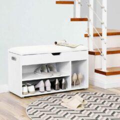 Vasagle Nancy's Schoenenkast Wit - Multifunctionele Kast - Houten Schoenenkasten met opbergruimte - 80 x 44 x 30 cm (B x H x D)