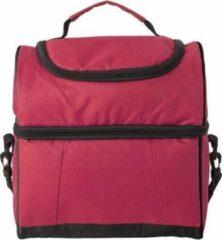Merkloos / Sans marque Handige koeltas rood/zwart 39 cm - 12 liter - Koeltassen voor onderweg/op het strand