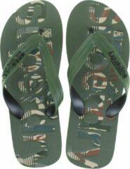 Groene Superdry Scuba Infil Flip Flop Heren Slippers - Olive/Black - Maat 44/45