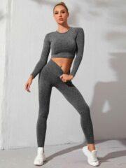 Merkloos / Sans marque Ruby sportoutfit ribbed / fitness kleding set voor dames / fitness legging + sport top (donkergrijs)