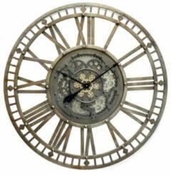 Homestylingshop.nl Grote Wandklok Open - Ø 90cm - Metaal - Donkergroen - Grijs
