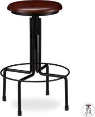 Zwarte Relaxdays barkruk industrieel - draaibare kruk - verstelbaar barstoel - metaal - retro B
