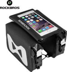 Zwarte ROCKBROS fietstas Waterdichte hoge capaciteit bovenbuisframe draagbare telefoon touchscreen tas/ROCKBROS sac de vélo étanche haute capacité cadre de tube supérieur portable téléphone sac à écran tactile