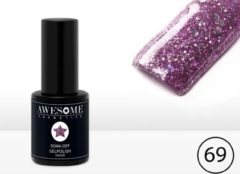 Awesome #68 Paars met Glitter Gelpolish - Gellak - Gel nagellak - UV & LED