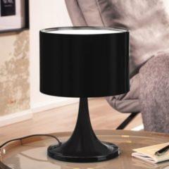 Wohnling Design Tischleuchte TILA Metallschirm-Lampe Nachttischlampe hochglanz Tischlampe schwarz Ø 25cm Metalllampe E27 bis 60W Leselampe 1-flammi