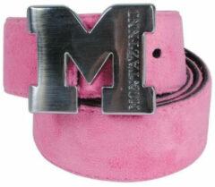 Montazinni - Suede Riem Met Zilveren Gesp - Roze