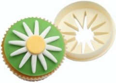 Creme witte FMM Double Sided Cupcake Cutter Daisy/Circle